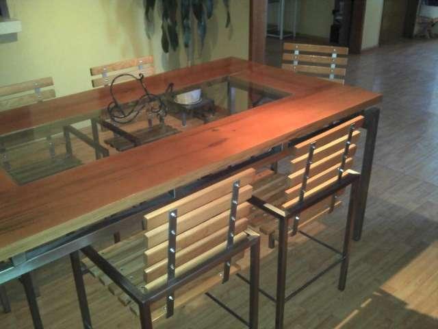 Comedor en acero inoxidable y madera en Puebla, Mexico  Muebles