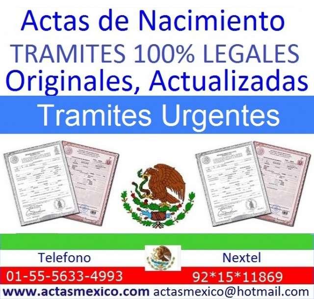 Actas de nacimiento del d.f., michoacan, guanajuato, guerrero, sonora, coahuila, apostilla