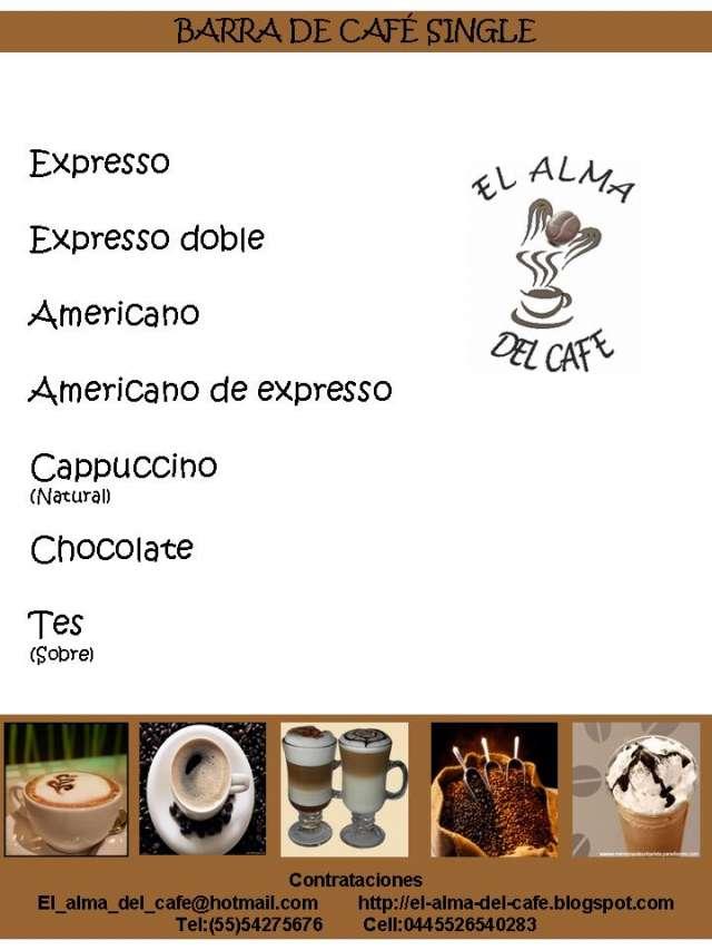 Servicio de barra cafe (especialidades) y personal(meseros) y mas