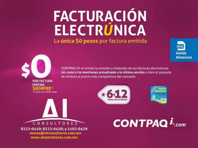 Factura electronica, cbb, contpaqi adminpaq, contabilidad, nominas, bancos, compac.