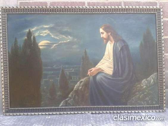 Oleo, jesus en la montaña, remate