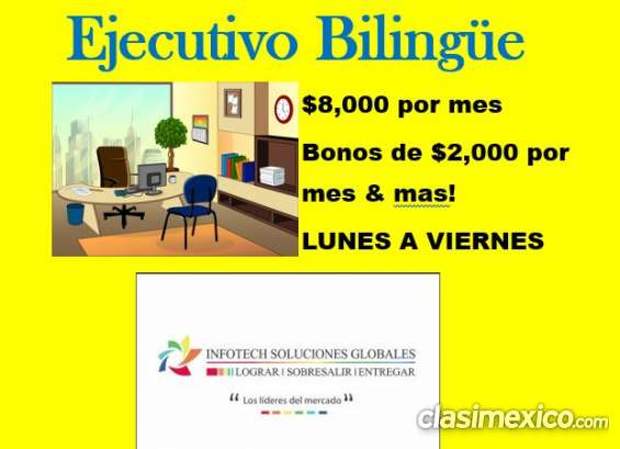 Ejecutivo bilingüe $8,000 per mes! lunes a viernes