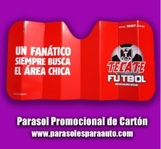 Parasol publicitario de carton para autos