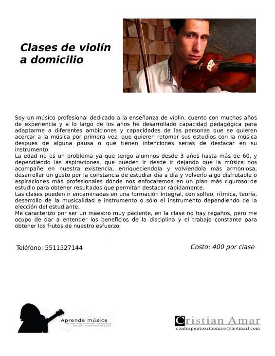 Clases de violín a domicilio. zona sur